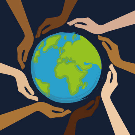 planet earth in the middle of human hands with different skin colors vector illustration Çizim