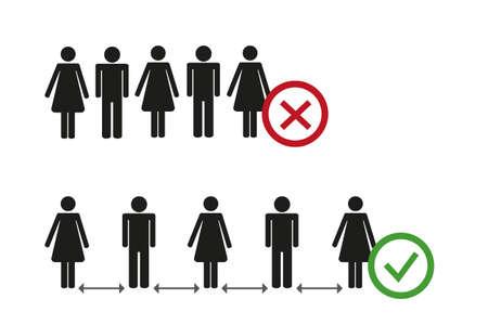 keep distance pictogram safety concept vector illustration Ilustracja