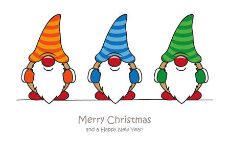 merry christmas greeting card with cute funny dwarf vector illustration EPS10 Illustration