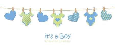 its a boy welcome greeting card for childbirth with hanging hearts and bodysuits vector illustration EPS10
