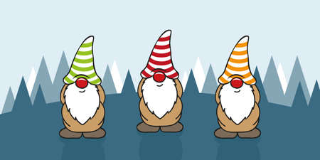 three cute christmas gnomes with funny caps cartoon vector illustration