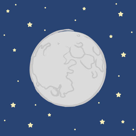 moon and stars in the dark sky vector illustration EPS10
