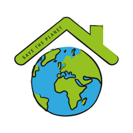 earth day save the planet label and globe vector illustration EPS10 Illustration