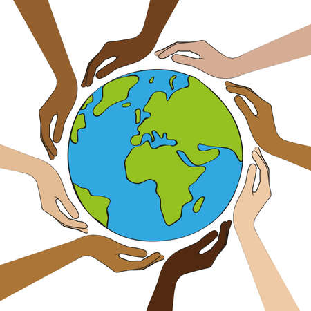 planet earth in the middle of human hands with different skin colors vector illustration Illustration