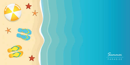 summer holiday on the beach background top view with copy space vector illustration EPS10 Illustration