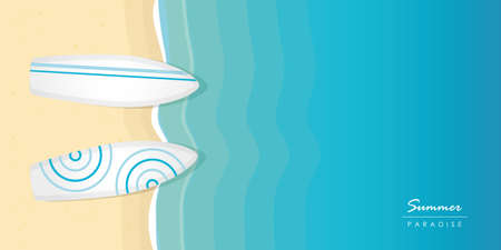 two surfboards on the beach summer holiday design with copy space vector illustration EPS10