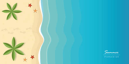 footprints on beautiful palm beach summer holiday background vector illustration