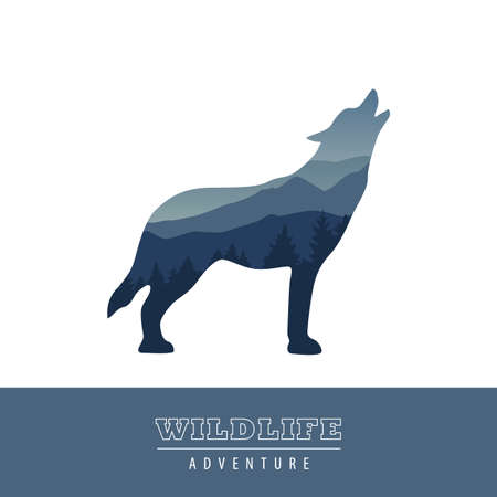 wildlife wolf blue forest landscape silhouette vector illustration