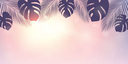 palm trees silhouette on a sunny day summer holiday design vector illustration Illustration