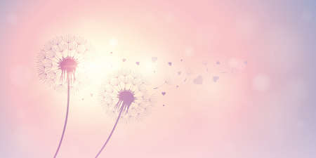 dandelion silhouette with flying seeds and hearts for valentines day vector illustration Illustration