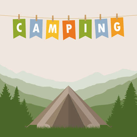 camping adventure in the wilderness tent in the forest at mountain landscape vector illustration Illustration