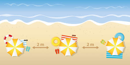 tourist beach holiday with a safe distance vector illustration Illustration