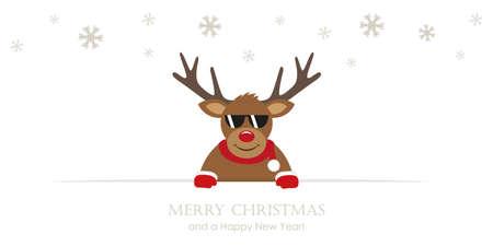 cute reindeer with sunglasses cartoon christmas card vector illustration EPS10 Ilustração