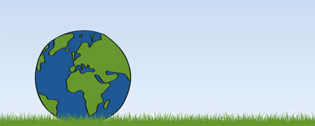 planet earth on green meadow banner with copy space vector illustration EPS10 Illustration