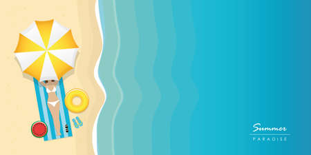 girl on the beach under umbrella with sunglasses and swim ring summer holiday design with copy space vector illustration