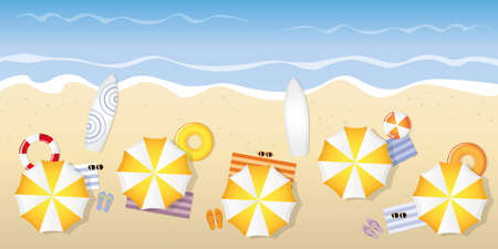 tourist beach with umbrellas sunglasses and surfboards vector illustration
