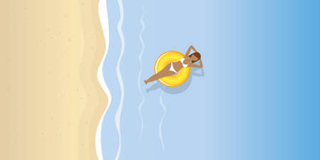 young woman in a swimming ring on the water on the beach vector illustration  イラスト・ベクター素材