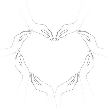 human hands form a heart isolated on white background vector illustration EPS10 Illusztráció