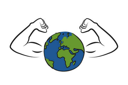 strong earth globe with muscular arms vector illustration EPS10