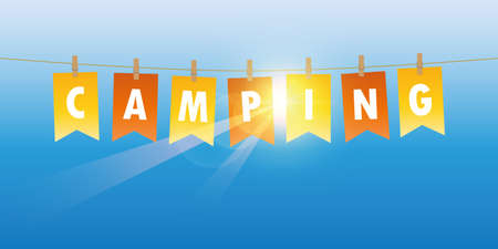 party flag camping on blue sunny sky background vector illustration EPS10
