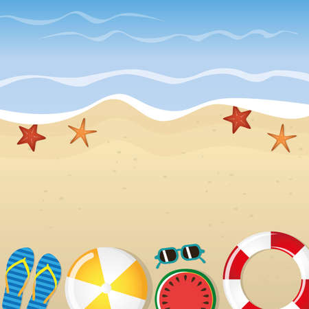 different beach utensils summer holiday background with flip flops sunglasses starfish and watermelon vector illustration EPS10 Illustration