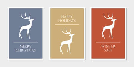 set of christmas greeting cards with reindeer vector illustration EPS10
