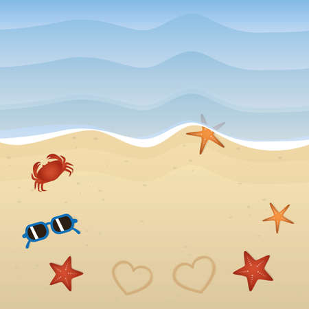 summer holiday on the beach with starfish crab flip flops and sunglasses vector illustration EPS10