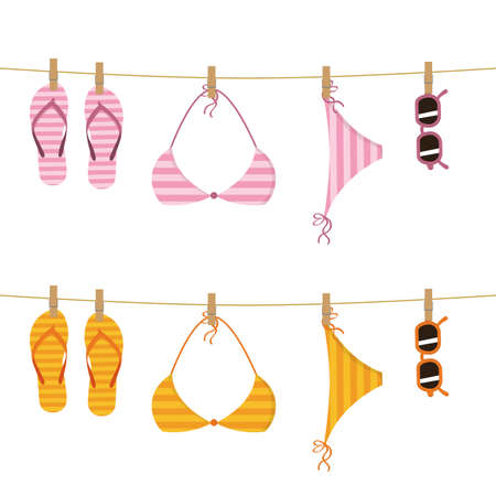 set of hanging flip flop bikini and sunglasses on a rope vector illustration EPS10