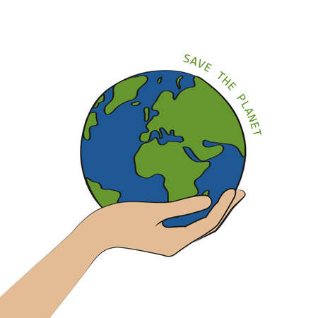 hand hold earth save the planet concept vector illustration EPS10