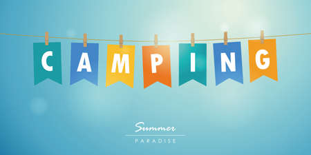 camping summer time blue sky background with colorful party flag vector illustration EPS10  イラスト・ベクター素材