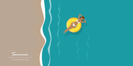 young woman in a swimming ring on the water on the beach vector illustration Illustration