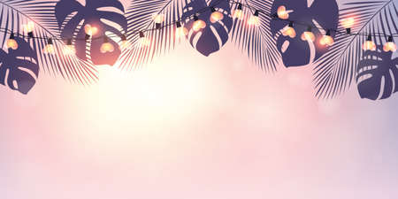 tropical summer paradise background with fairy light and palm leaves vector illustration
