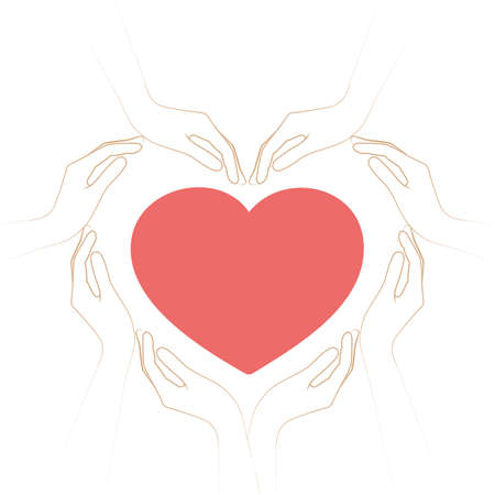 human hands form a heart isolated on white background vector illustration EPS10 Illustration
