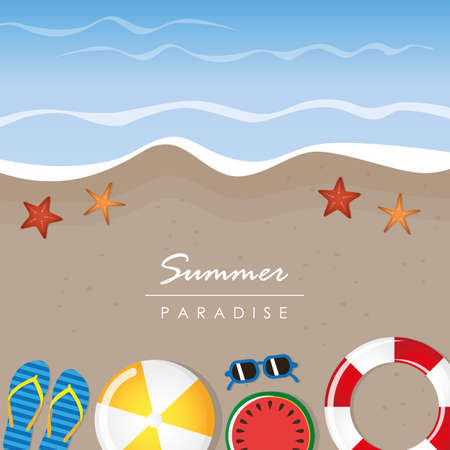 different beach utensils summer holiday background with flip flops sunglasses bikini and starfish vector illustration EPS10