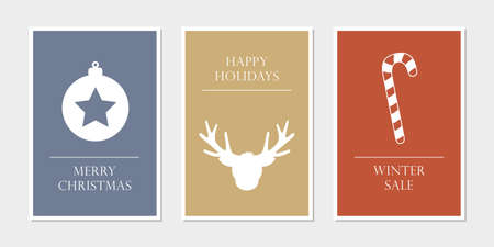 set of christmas greeting cards with star deer and candy cane vector illustration EPS10