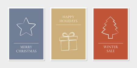 set of christmas greeting cards with star gift