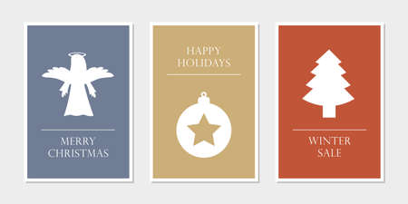 set of christmas greeting cards with angel star