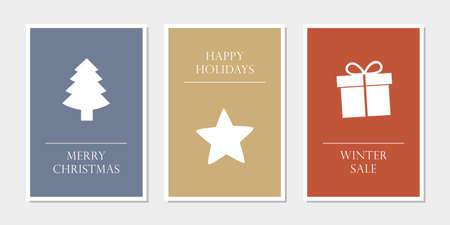 set of christmas greeting cards with tree star and gift vector illustration
