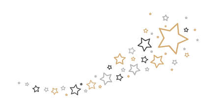 christmas golden falling star decoration isolated on white background vector illustration  イラスト・ベクター素材