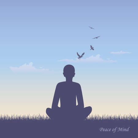 meditating person on summer meadow at sunshine vector illustration