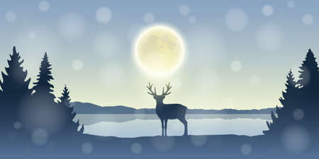 lonely reindeer in snowy winter forest at full moon by the lake vector illustration