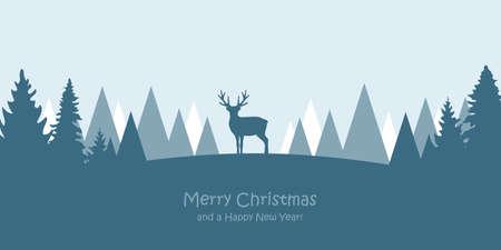 reindeer in snowy winter forest landscape christmas greeting card vector illustration Banco de Imagens - 152271732