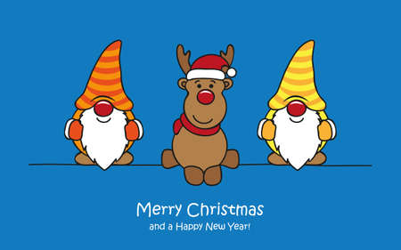 merry christmas greeting card with cute funny dwarf and deer vector illustration EPS10 Illustration
