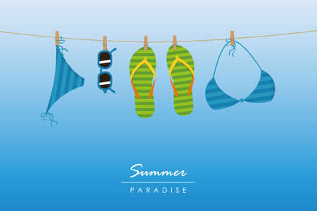 summer holiday striped flip flops bikini and sunglasses hang on a rope vector illustration EPS10 Illustration