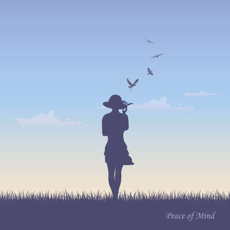 girl with hat on summer meadow and flying birds in sky vector illustration Banco de Imagens - 151962333