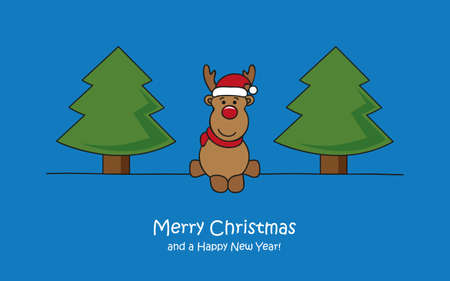 merry christmas greeting card with cute deer and trees vector illustration EPS10