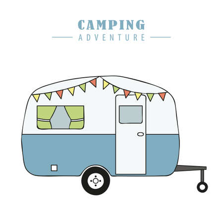 camper summer holiday on a road trip vector illustration EPS10