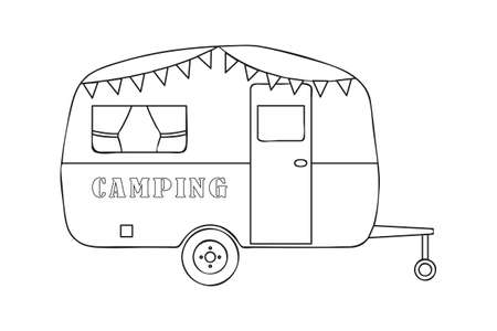camper outline drawing isolated on white background vector illustration EPS10