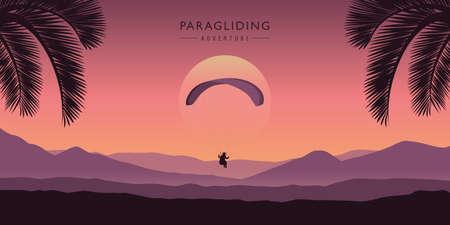 paragliding adventure purple mountain landscape with palm trees vector illustration EPS10 Vecteurs