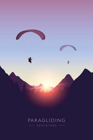 paragliding adventure mountain landscape at sunset vector illustration EPS10